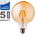 E27 LED izzó Vintage filament (6W/300°) G125 - extra meleg f., PRO Samsung