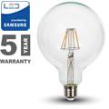 E27 LED izzó Retro filament (6W/300°) G125 - meleg fehér, PRO Samsung