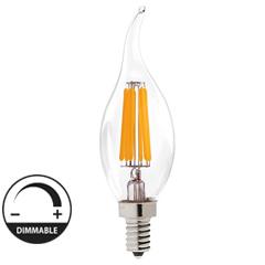 E14 LED izzó Retro filament (4W/300°) Gyertya láng - meleg fehér, dimmelhető