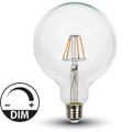 E27 LED izzó Retro filament (4W/300°) G125 - meleg fehér, dimmelhető