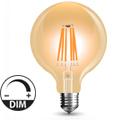 E27 LED izzó Vintage filament (8W/300°) G125 - extra meleg f., dimmelhető