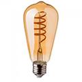 E27 LED izzó Vintage filament (4W/300°) ST64 Spirál - extra meleg fehér