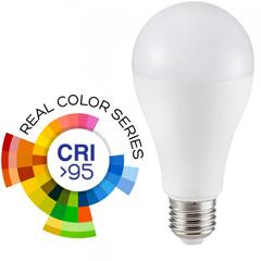 E27 LED lámpa (17W/200°) Körte A65 - meleg fehér (CRI95 - RealColor)