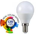 E14 LED lámpa (5.5W/200°) Kisgömb - meleg fehér (CRI95 - RealColor)
