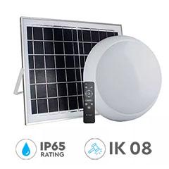 Napelemes UFO LED lámpa, távirányítóval, CCT, dimmelhető (15W/900Lm) IP65, IK08 - fehér