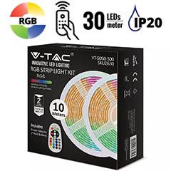 LED szett beltéri: 10 méter RGB+vezérlő+tápegység 5050-30