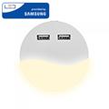 Éjszakai irányfény LED lámpa (0.45W - kör) 2db USB csatlakozóval, meleg fehér, Samsung Chip