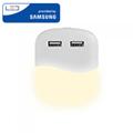 Éjszakai irányfény LED lámpa (0.45W - négyzet) 2db USB csatlakozóval, meleg fehér, Samsung Chip