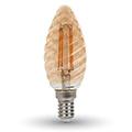E14 LED izzó Vintage filament (4W/300°) Csavart gyertya - extra meleg fehér