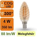LED lámpa E14 Filament (4Watt/300°) Vintage csavart - extra m.