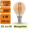 LED lámpa E14 Filament (4Watt/300°) Vintage kisgömb - extra m.