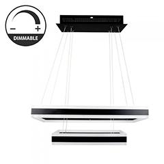 Design LED csillár (115W) - meleg fényű, dimmelhető, fekete