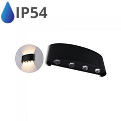 Design oldalfali LED lámpatest (8W) fekete - IP54 - 3000K