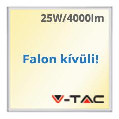 LED panel (595 x 595 mm) 25W - meleg fehér, süllyeszthető / falon kívüli (160+lm/W) A++
