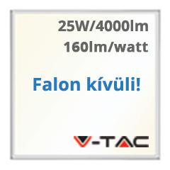 LED panel (595 x 595 mm) 25W - természetes fehér, süllyeszthető / falon kívüli (160+lm/W) A++