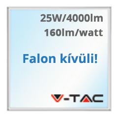LED panel (595 x 595 mm) 25W - hideg fehér, süllyeszthető / falon kívüli (160+lm/W) A++