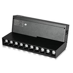 Mágneses sínes Spot LED lámpa (DC24V) - 10 x 2W (30° - fekete) dönthető, meleg fehér