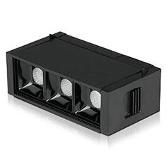 Mágneses sínes Spot LED lámpa (DC24V) - 3 x 1W (30° - fekete) meleg fehér