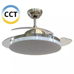 Mennyezeti ventilátor és lámpa, acél (3 lapát, 30W/CCT ) távirányítóval