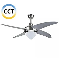 - Mennyezeti ventilátor és lámpa, acél (4 lapát, 15W LED CCT) távirányítóval