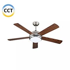 Mennyezeti ventilátor és lámpa, acél (5 lapát, 15W LED) CCT, távirányítóval