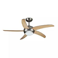- Mennyezeti ventilátor és lámpa, szatén-fa (5 lapát, 2xE27 foglalat) távirányítóval