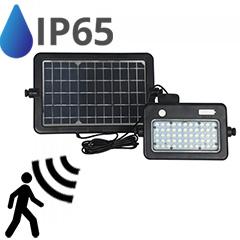 Napelem + akkus LED reflektor, hordozható, mozgásérzékelős A++ (1100 lumen/90°) - term fehér