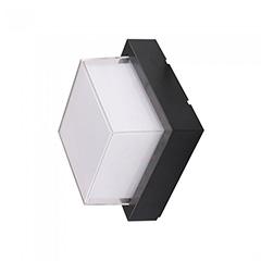 Oldalfali dekor lámpatest - fekete - négyzet (7W/550Lumen) meleg fehér