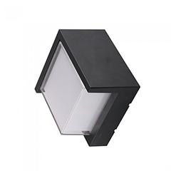 Oldalfali dekor lámpatest - fekete - négyzet (7W/400Lumen) meleg fehér
