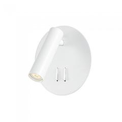 Oldalfali LED olvasólámpa (3+6W - 3000K) kör alakú, fehér