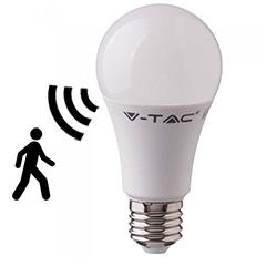 E27 LED lámpa  (9W/200°) Körte A60 - hideg fehér, mikrohullámú mozgásérzékelő szenzorral