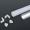 Aluminium sarok profil fehér, LED szalaghoz, opál burával (3369)