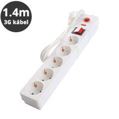Hosszabbító 5-ös elosztóval, kapcsolóval (túlfeszültség és túlterhelés elleni védelemmel) fehér - 1.4 m vezetékkel