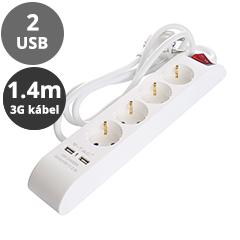 Hosszabbító 4-es elosztóval, kapcsolóval (4 földelt + 2 USB) fehér - 1.4 m vezetékkel