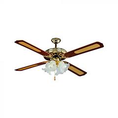 Mennyezeti ventilátor és lámpa, réz (4 lapát, 4xE27 foglalat)