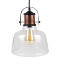 Üveg+fém vintage lámpatest (E27) - átlátszó színű bura