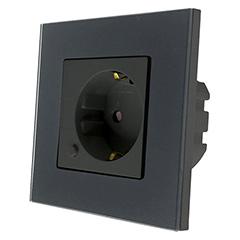 Glass Touch - Smart fali aljzat 2P+F (szimpla) - Wi-Fi vezérlés mobillal, fekete