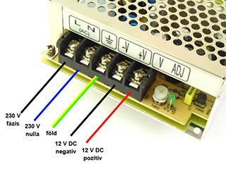 Ipari LED tápegységek csatlakoztatása