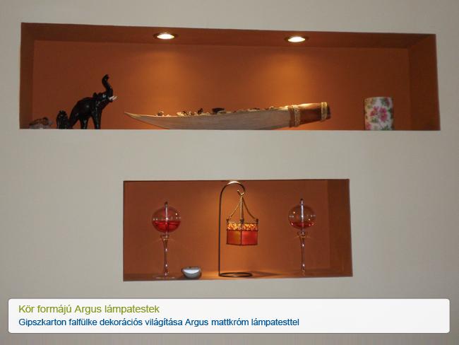 Gipszkarton falfülke dekorációs világítása Argus mattkróm lámpatesttel
