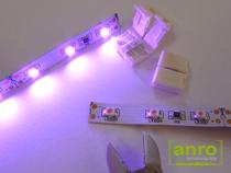 A vágási ponton elvágott LED szalag minden LED chipje világít.