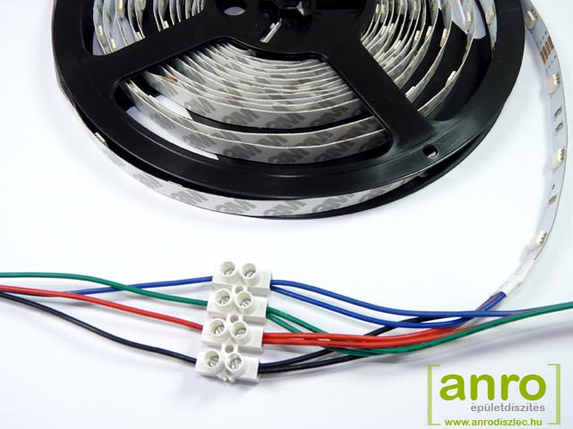 RGB szalag párhuzamos kötése RGB vezetés és sorkapocs segítségével