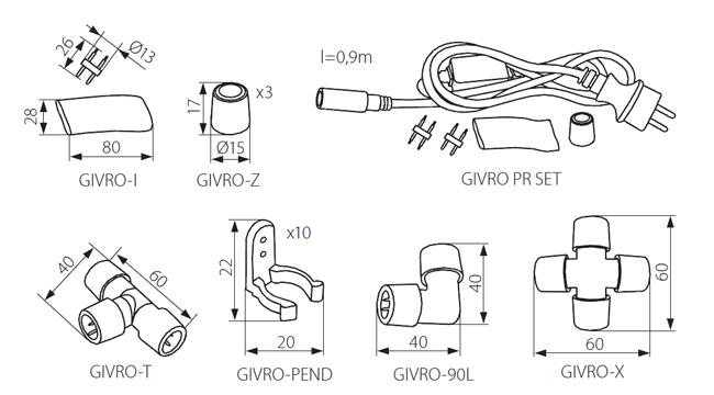 Kiegészítő szerelvények LED fénykábelhez