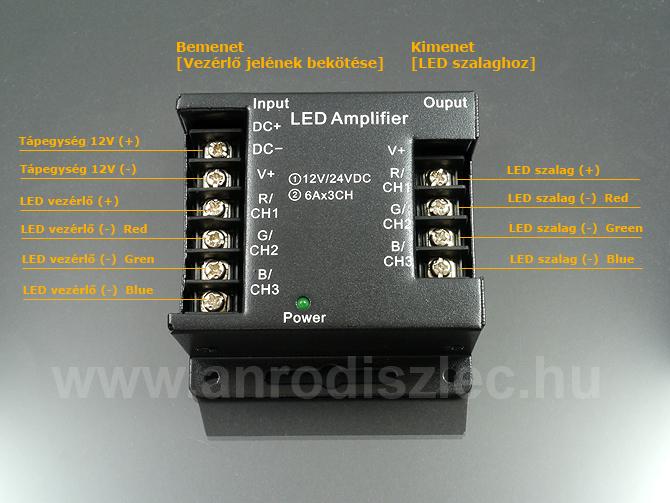 Jelerősítő (RGB vezérlőhöz és dimmerhez) 12V/216W