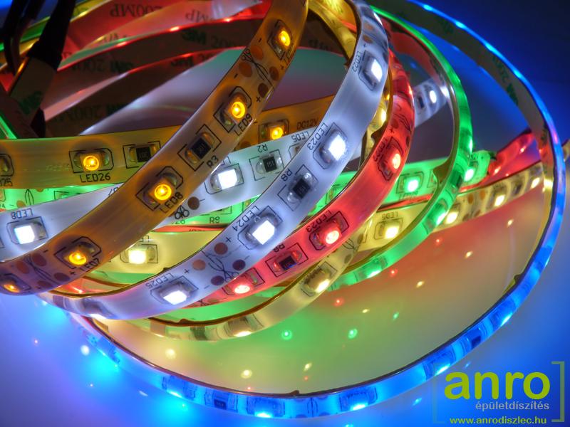 LED szalagok az ANRO Webáruházból: hideg, meleg fehér, kék, zöld, piros, sárga, színváltós RGB LED csík