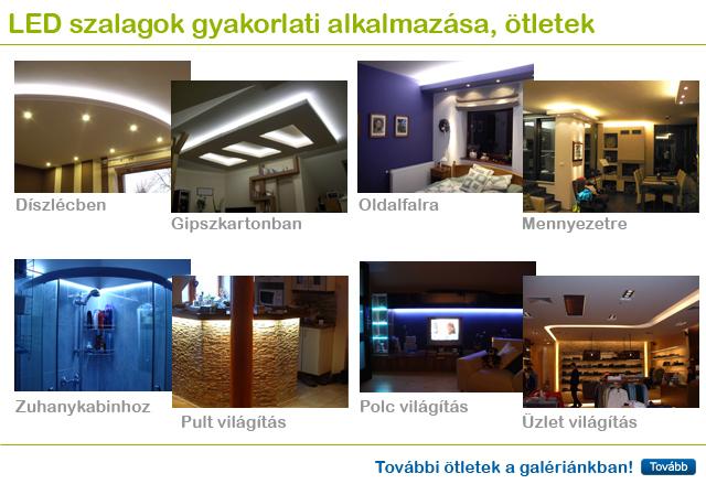 LED szalagos rejtett világításos ötletek, képek